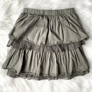Lands End Girls Gray Tiered Tulle Ruffle Skirt 12